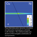 Phase field dislocation dynamics simulation of a dislocation impinging on a bimetal Cu/Ni interface.  This method enables predictions of the energetics and kinetics of such processes.